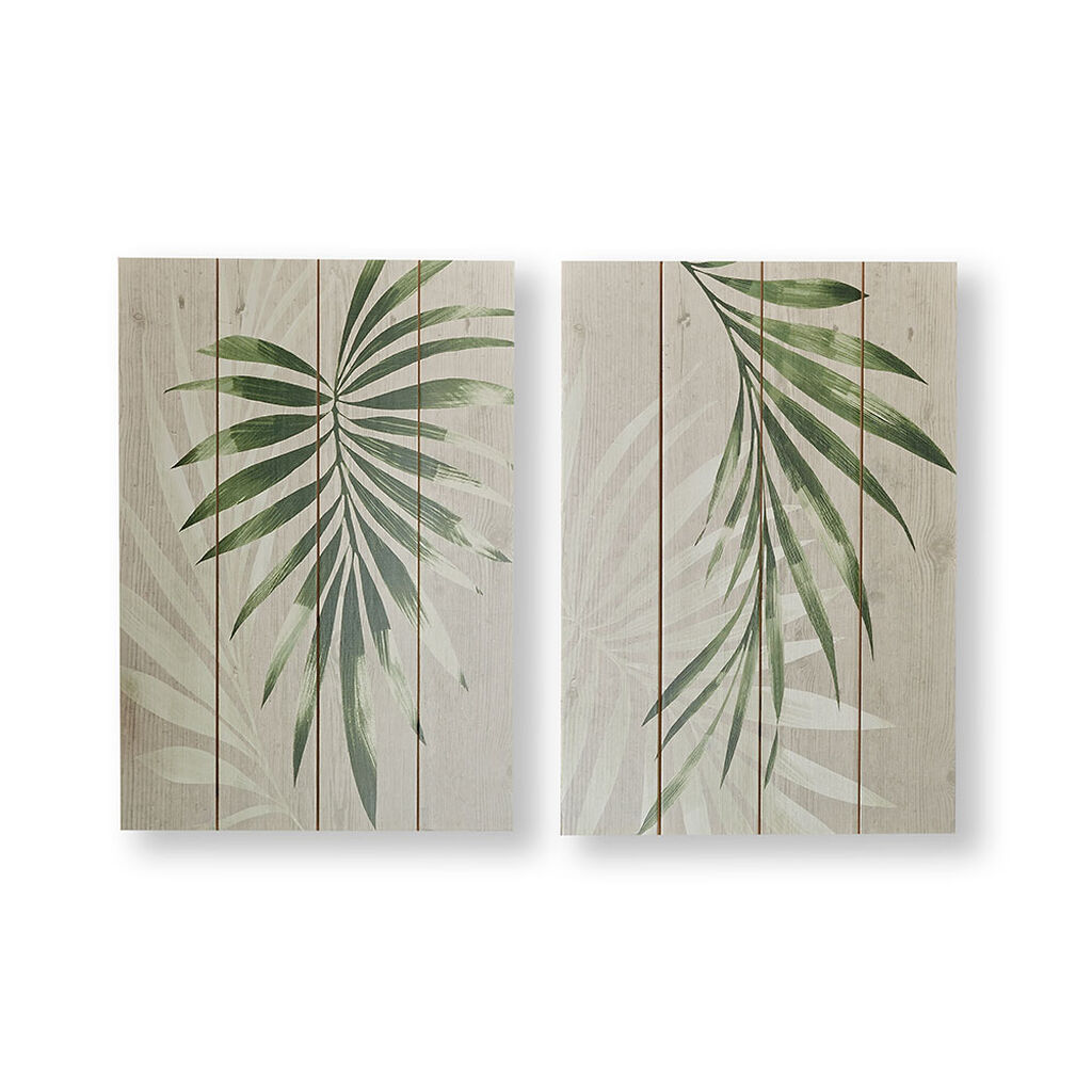 Peaceful Palm Leaves Wood Wall Art, , wallpaperIT