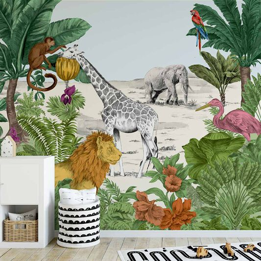 Watercolour Jungle Mural, , wallpaperIT