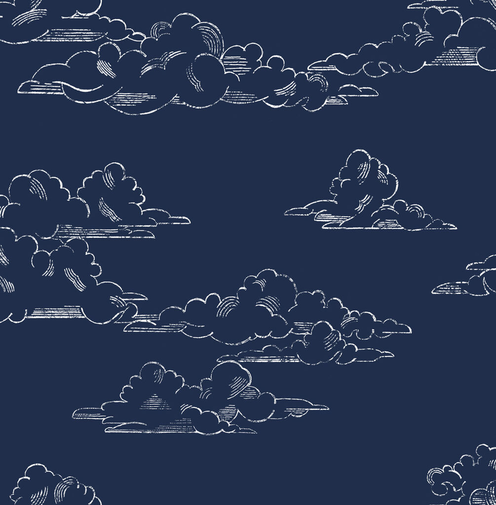 Vintage Cloud Navy Wallpaper, , wallpaperIT