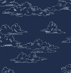 Vintage Cloud Navy Wallpaper