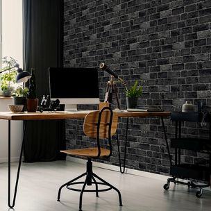 House Brick Charcoal Wallpaper, , wallpaperIT