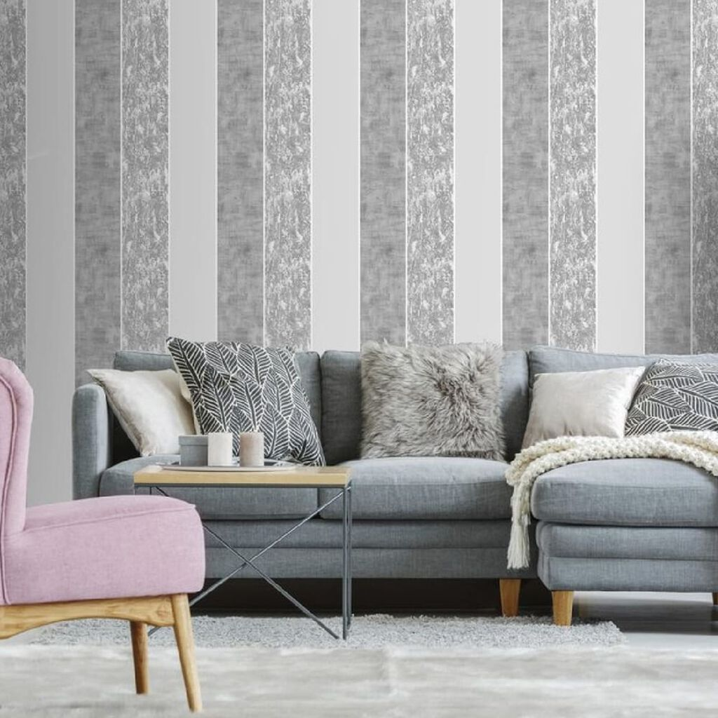 Milan Stripe Silver Wallpaper, , wallpaperIT