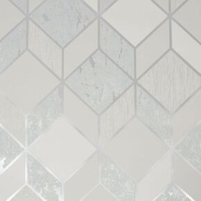 Vittorio Grey & Silver Geometric Wallpaper, , wallpaperIT