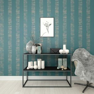 Mara Stripe Turquoise Wallpaper, , wallpaperIT