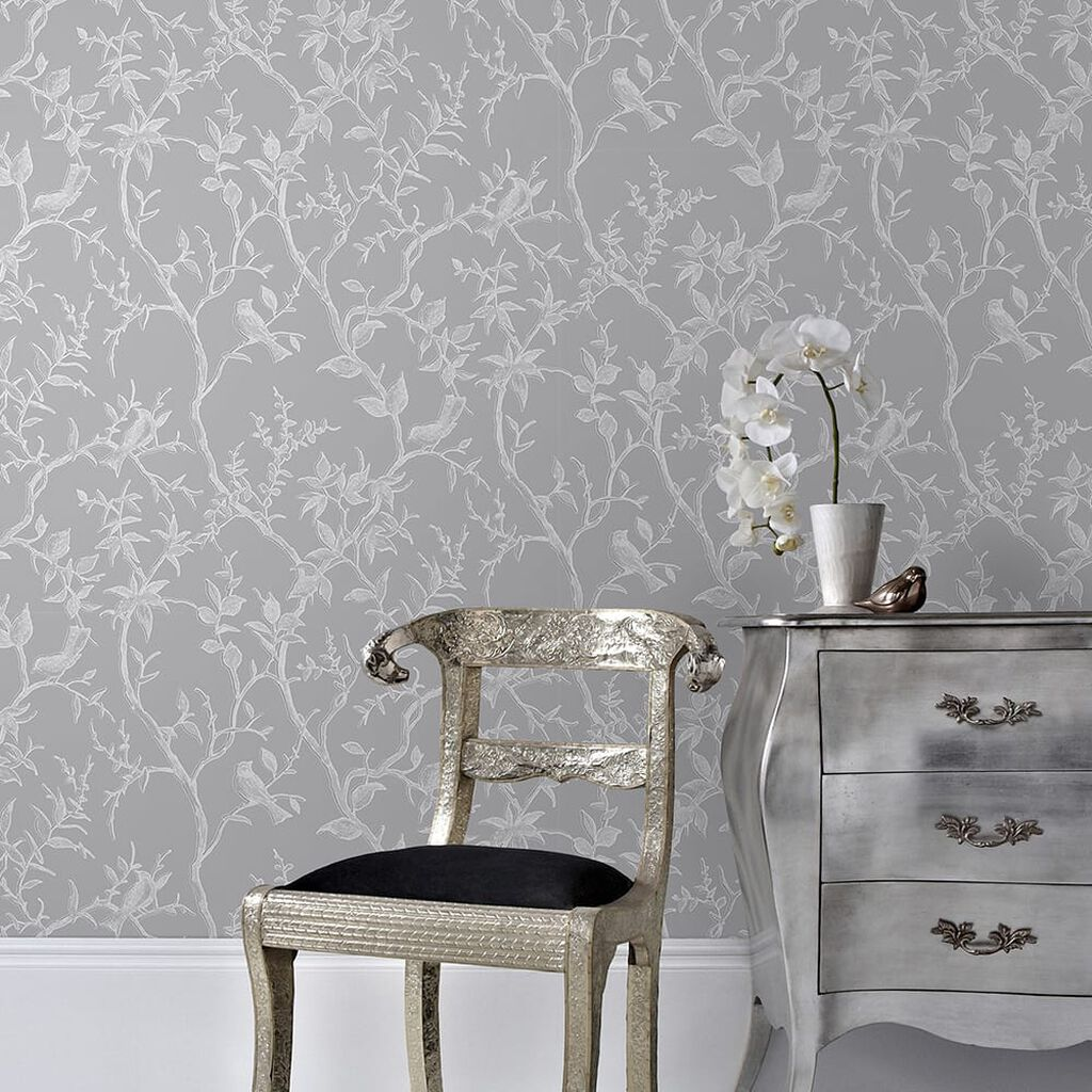 Laos Trail Grey & Silver Wallpaper, , wallpaperIT