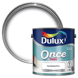 Dulux Once Pure Brilliant White Gloss 0.75L, , wallpaperIT