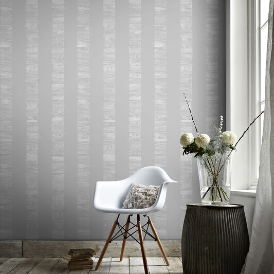 Mara Stripe Silver Wallpaper, , wallpaperIT