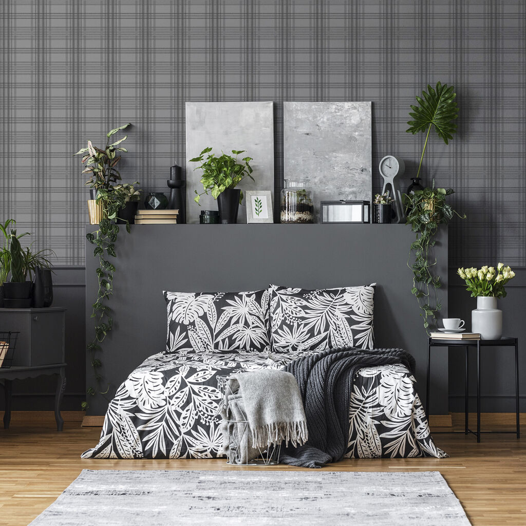 Country Tartan Charcoal Wallpaper, , wallpaperIT