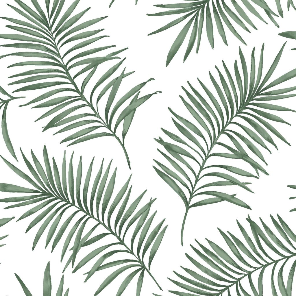 Scandi Leaf White & Green Forest Wallpaper, , wallpaperIT