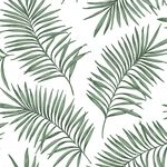Scandi Leaf White & Green Forest Wallpaper