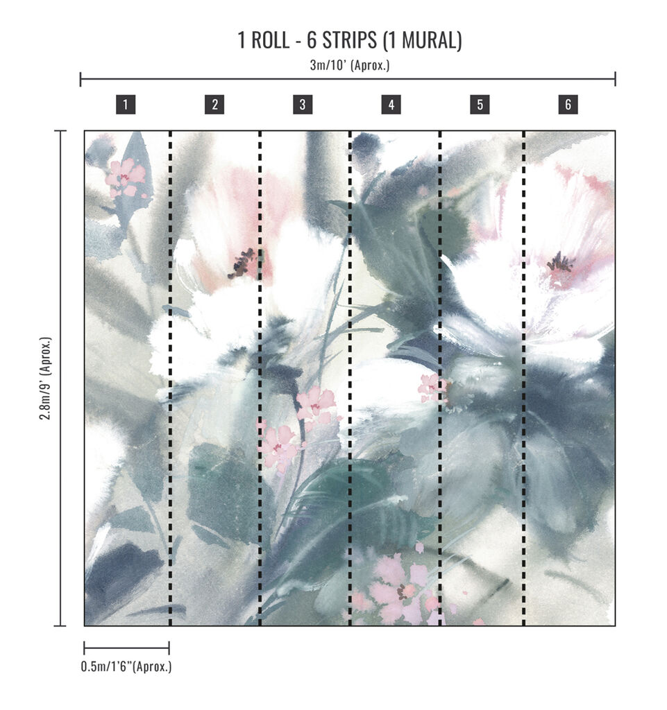 Expressive Floral Pastel Wall Mural, , wallpaperIT