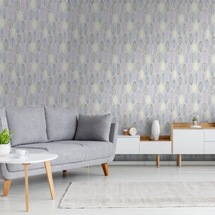 Scandi Leaf Lilac Wallpaper, , wallpaperIT
