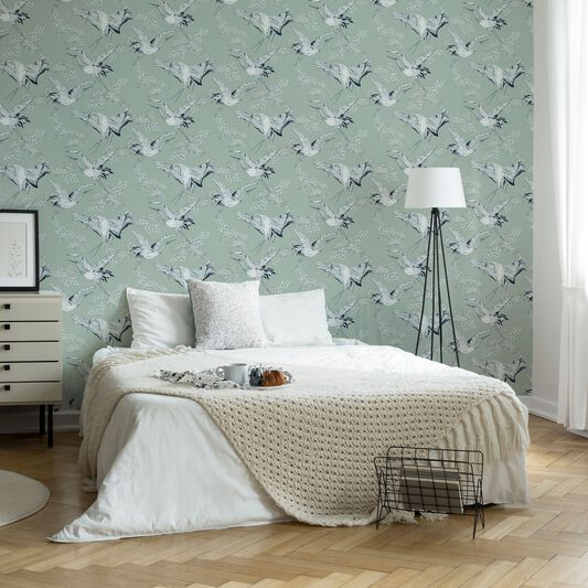 Crane Mint Oriental Wallpaper, , wallpaperIT