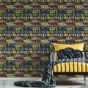 Urban Graffiti Black Wallpaper, , wallpaperIT