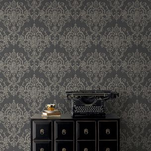 Victorian Damask Black & Gold Wallpaper, , wallpaperIT