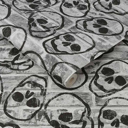 Skull Wall Grey Wallpaper, , wallpaperIT