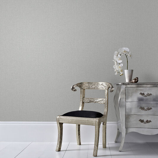 Chenille Grey and Silver Wallpaper, , wallpaperIT