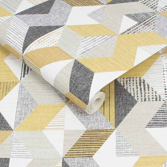 Tribal Geo Yellow & Grey Wallpaper, , wallpaperIT