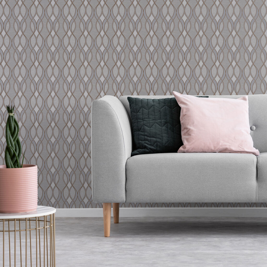 Ribbon Geo Grey & Rose Gold Wallpaper, , wallpaperIT