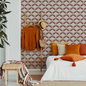 Retro Ogee Burnt Orange Wallpaper, , wallpaperIT