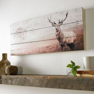 Stag Print On Wood Wall Art, , wallpaperIT