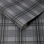 Country Tartan Charcoal Wallpaper