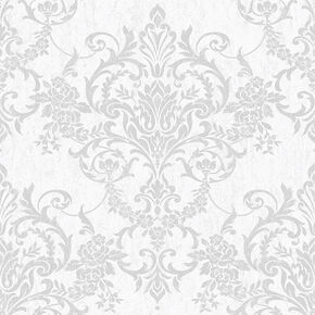 Victorian Damask Silver Wallpaper, , wallpaperIT