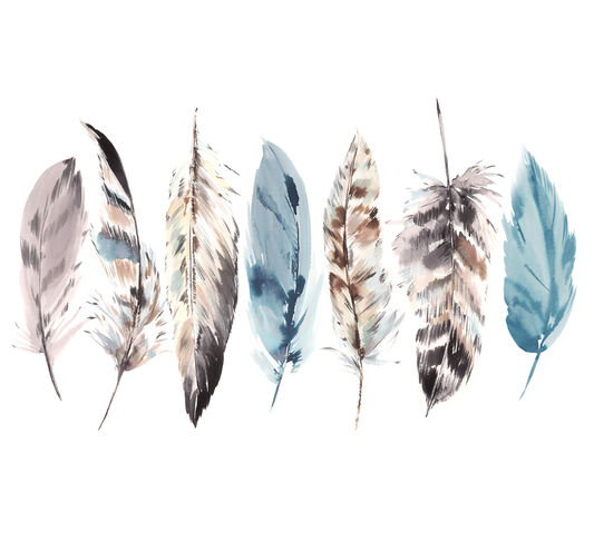 Watercolour Feathers Wall Mural, , wallpaperIT