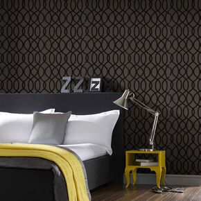 Knightsbridge Flock Noir Wallpaper, , wallpaperIT
