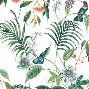 Adilah White Tropical Floral Wallpaper, , wallpaperIT