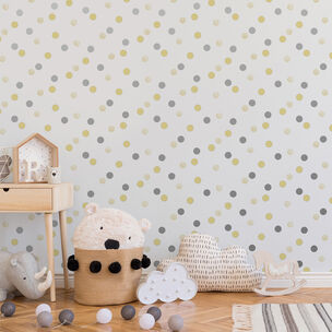 Dotty Polka Yellow & Silver Wallpaper, , wallpaperIT