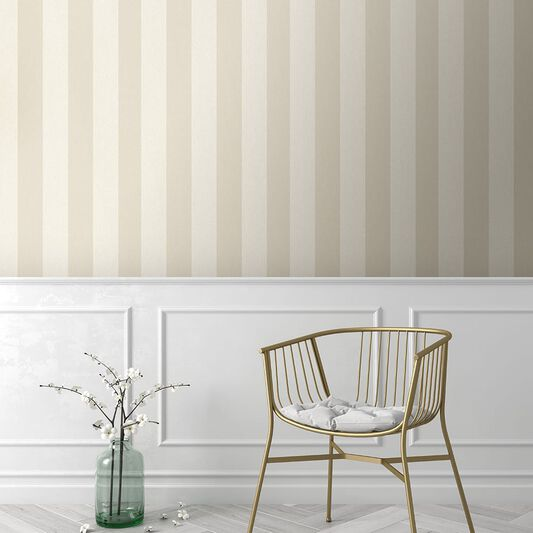 Water Silk Stripe Ivory & Taupe Wallpaper, , wallpaperIT
