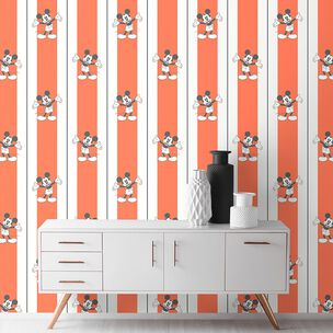 Mickey Pinstripes Orange Wallpaper, , wallpaperIT