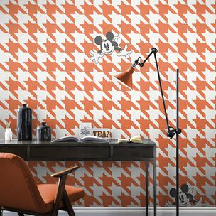 Mickey Houndstooth Orange Wallpaper, , wallpaperIT
