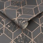 Vittorio Charcoal & Rose Gold Geometric Wallpaper