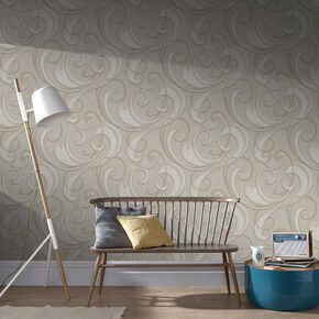 Flamenco Taupe and Champagne Wallpaper, , wallpaperIT