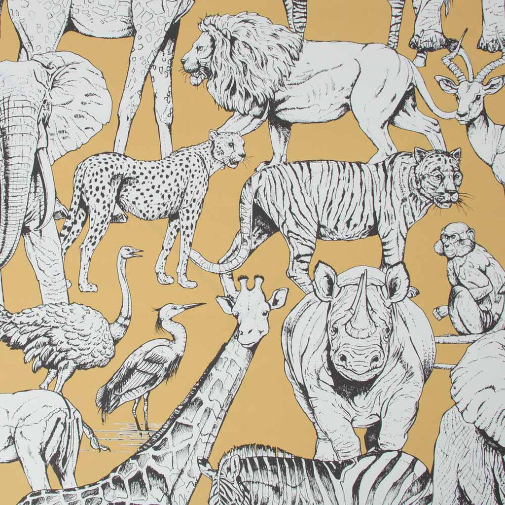 Jungle Animals Jaune Wallpaper, , wallpaperIT