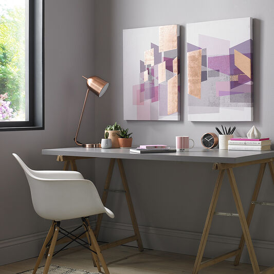Rose Gold Geos Printed Canvas Wall Art, , wallpaperIT