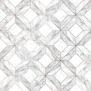 Marble Marquetry White & Rose Gold Wallpaper, , wallpaperIT