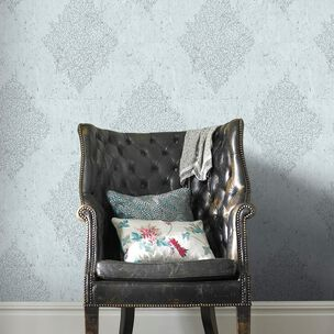Pale Blue & Silver Cork Medallion Wallpaper, , wallpaperIT