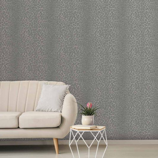 Glamorous Fur Charcoal Wallpaper, , wallpaperIT