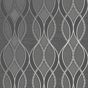 Ribbon Geo Grey & Silver Wallpaper, , wallpaperIT