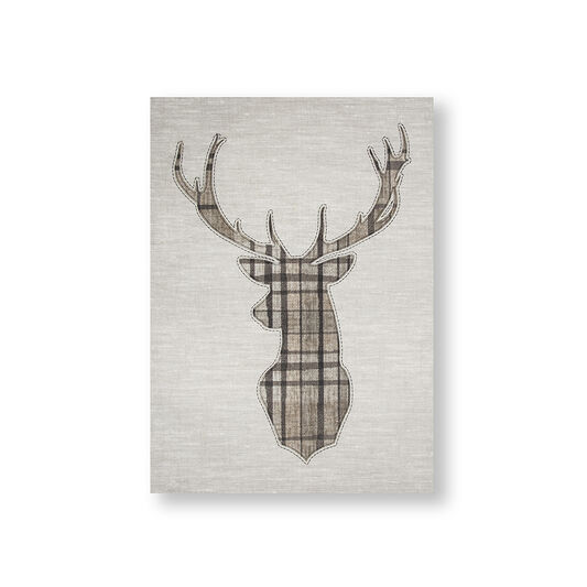 Tartan Stag Printed Canvas Wall Art, , wallpaperIT