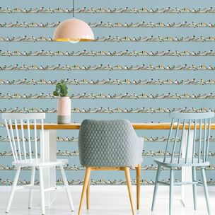 Fresco Tweeting Blue Birds Wallpaper, , wallpaperIT