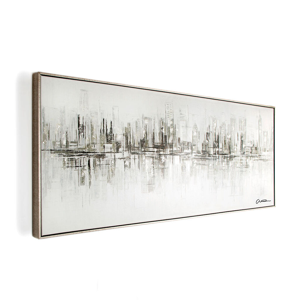 New York Reflections Handpainted Framed Canvas Wall Art, , wallpaperIT
