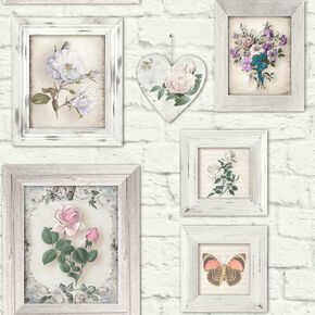 Brick Floral Frames Wallpaper, , wallpaperIT
