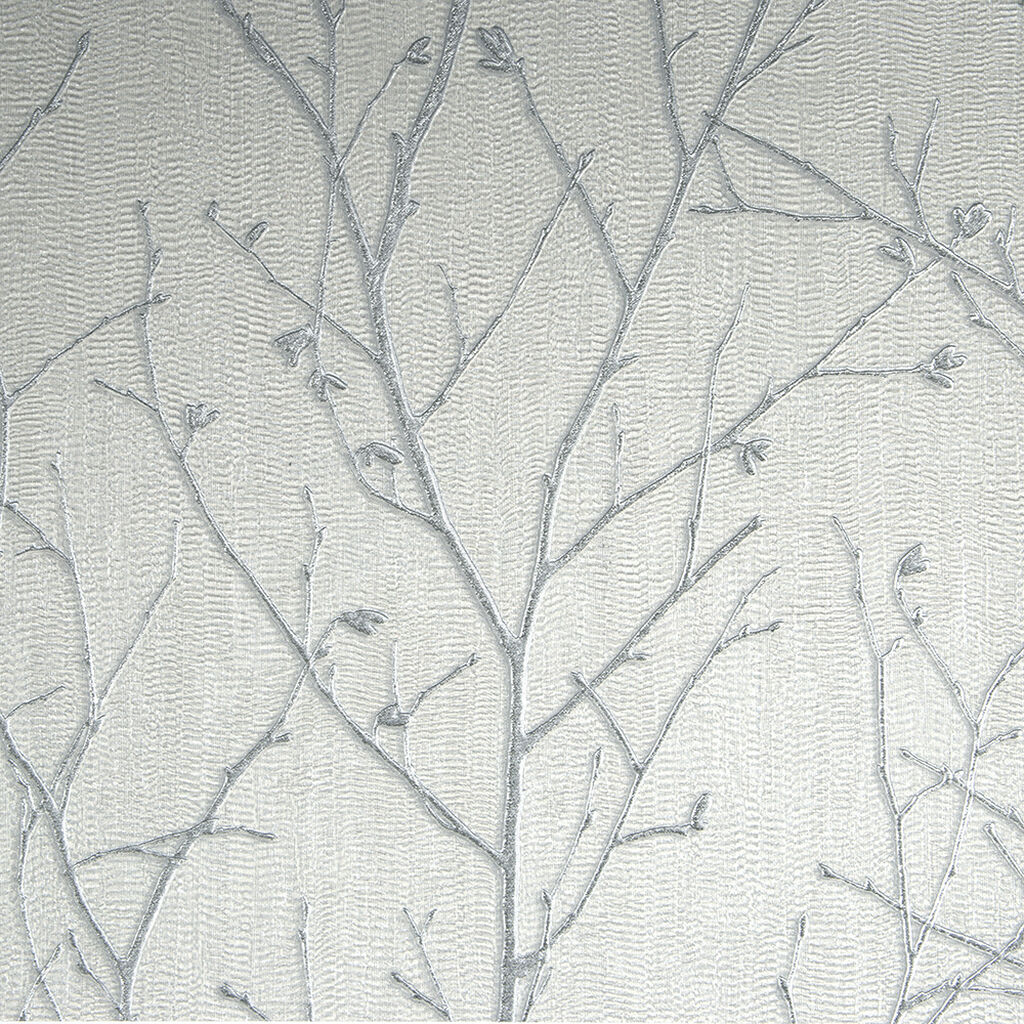 Water Silk Sprig Light Silver Wallpaper, , wallpaperIT