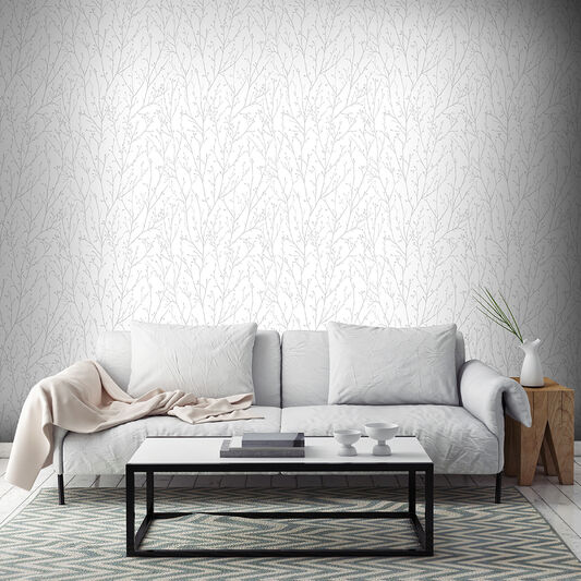 Willamena Silver White Wallpaper Silver Wallpaper Superfresco