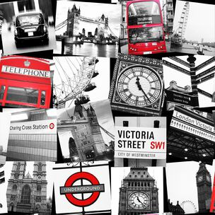 London Montage Black and Red Wallpaper, , wallpaperIT