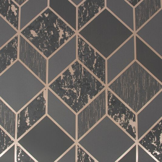 Vittorio Charcoal & Rose Gold Geometric Wallpaper, , wallpaperIT